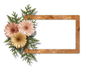 Framework for photo with bunch of flowers on isolatede white bac — Stock Photo