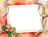 Card for congratulation or invitation with roses on abstract bac — Stock Photo
