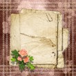 Foto Stock: Vintage paper with a roses on the vintage background.