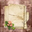 Stock Photo: Vintage paper with roses on vintage background.