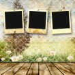 Framework for a photo on a vintage background. Summer landscape. — Stock Photo