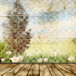 Vintage background for design. Summer landscape. — Stock Photo