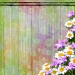 The vintage wooden background with flowers. — Stock Photo