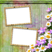 Frameworks for photo. The vintage wooden background. — Stock Photo