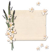 Vintage paper with a flower on white isolated background. — Foto Stock