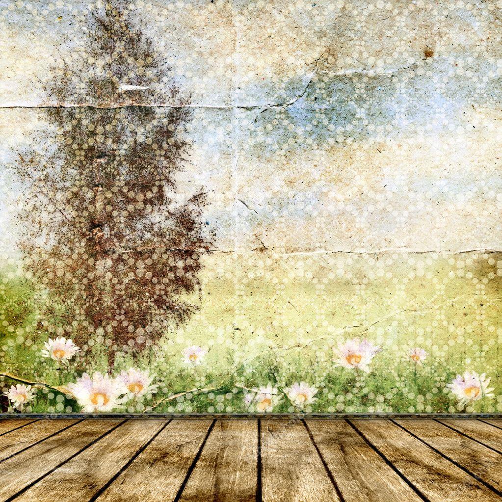 Vintage background for design. Summer landscape. — Stock ...