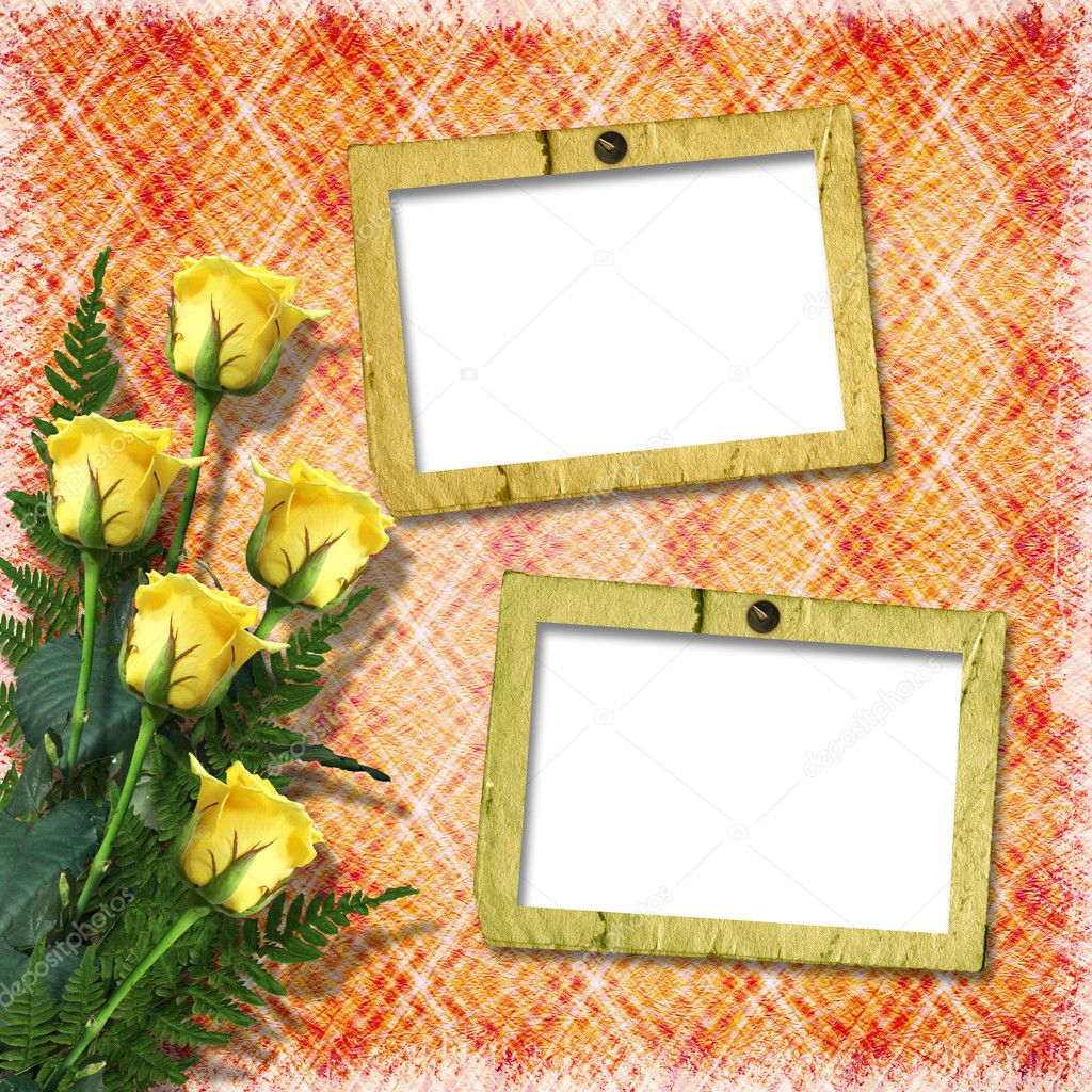 Vintage background with frames for photos. — Stok fotoğraf #8226811