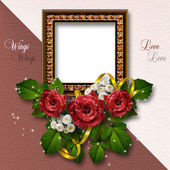 Valentine's day background with frames for photo. — Foto de Stock