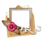 Love letter and gold frame with a decorative pattern. — Stock Photo