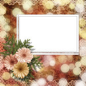 Card for congratulation or invitation with flower on abstract ba — Foto Stock