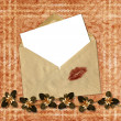 Stock Photo: Love letter with bow on paper background.