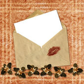 Love letter with bow on paper background. — Stock Photo