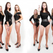Royalty-Free Stock Photo: Collage of group of hot young women in bodysuits