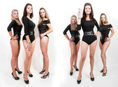 Collage of group of hot young women in bodysuits — Stock Photo