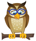 Owl on branch — Vector de stock