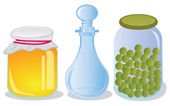 Glass jars and decanter — Stock Vector