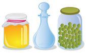Glazen potten en karaf — Stockvector