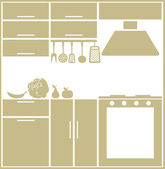 Kitchen silhouette — Vettoriale Stock