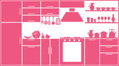 Pink kitchen silhouette — Stock Vector