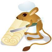 Jerboa chef cuts dough — Stock Vector
