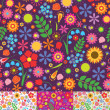 Floral seamless patterns — Vector de stock