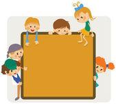 Děti rámu oznámení — Stock vektor