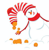 Christmas card with snowmans — Vector de stock