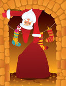 Santa Claus and chimney — Vector de stock