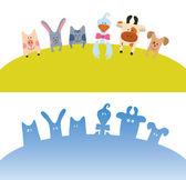 Cartoon farm animals card — Stock Vector