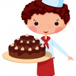 Scullion with cake — Stock Vector