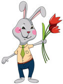 Funny rabbit with flowers — Stock vektor