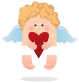 Angel and heart — Stock Vector