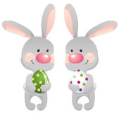 Funny rabbits with eggs — Vecteur