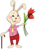 Rabbit with flowers and cane — Vector de stock