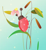 Ladybird on a flower — Stock Vector