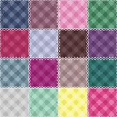Patchwork background with checked patterns — Stock Vector