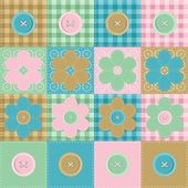 Patchwork background with flowers and buttons — Stock Vector