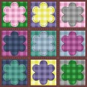 Patchwork background with flowers — Stock Vector