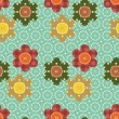 Seamless pattern with scrapbook flowers — ストックベクタ