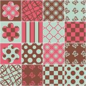 Patchwork background with different patterns — Stock Vector