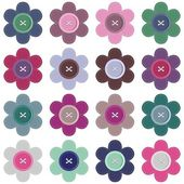 Set with scrapbook flowers — Stock Vector