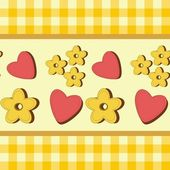 Background with hearts and flowers — Vettoriale Stock