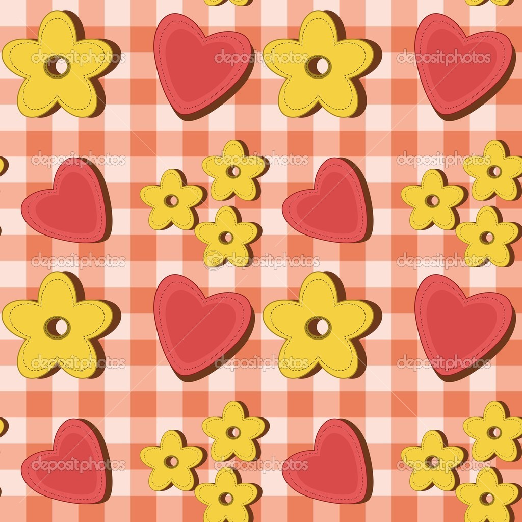 Seamless background with flowers and hearts on check — Stock Vector #8186273