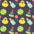 Seamless background with baby objects — Cтоковый вектор #8264738