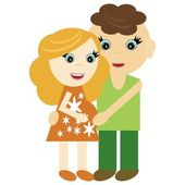 Pregnant woman and man — Stock Vector