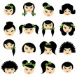 Stock Vector: Girls with different hair styles
