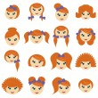 Girls with different hair styles — Stock Vector