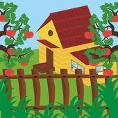 House and apple garden — Stock Vector