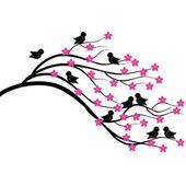Бранч дерево с птицами — Cтоковый вектор