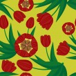 Seamless background with tulips — Imagen vectorial